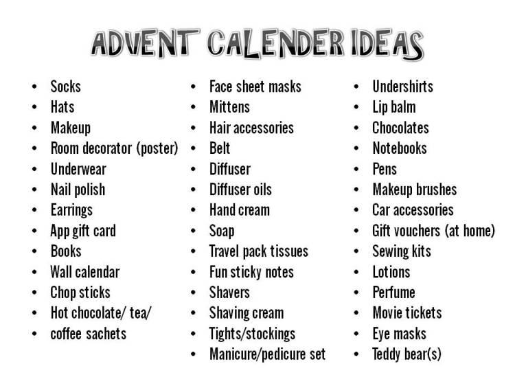 ADVENT CALENDER IDEAS